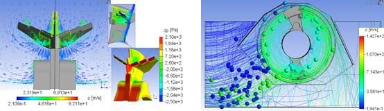 Strömungsbild und Differenzdruckverteilung an einer Häckselklinge sowie Partikelströmung in einem Häckselaggregat [1]